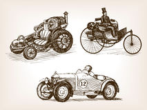 Vintage cars set sketch style vector illustration Stock Image
