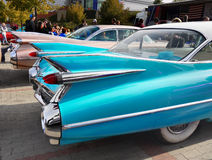 Vintage American Classic Car, Cadillac. 1959 Cadillac Eldorado Biarritz Convertible, detail of very special fins and tail lights. Luxury Vintage American Classic royalty free stock photos