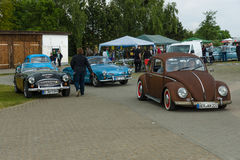 Vintage cars VW Beetle, VW Karmann Ghia and Austin Healey 3000 Stock Image