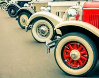 Vintage Cars Wheels. Details of generic vintage classic car wheels Royalty Free Stock Image