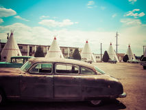 Vintage Cars Wigwam Motel Arizona. Wigwam motel at route 66, Holbrook, Arizona, USA royalty free stock photography