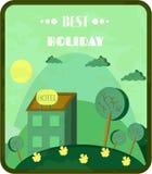 Vintage, cartão verde com o hotel no monte, prado ilustração royalty free