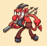 Vintage cartoon devil with trident Royalty Free Stock Photography