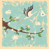 Vintage cartoon flowering branch, stork ,newborn Stock Photo