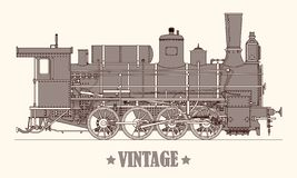 Free Vintage Cartoon Hand Drawn Steam Locomotive Train. Vector Illustration Royalty Free Stock Images - 135169869