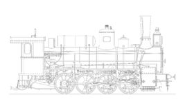 Vintage cartoon hand drawn steampunk steam locomotive train. Vector vector illustration