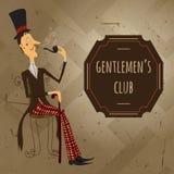 Vintage cartoon illustration gentlemen's club poster Royalty Free Stock Image