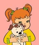 Vintage cartoon little girl Stock Images