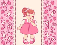 Vintage cartoon little girl Stock Photo