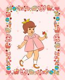 Vintage cartoon little girl Royalty Free Stock Images