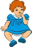 Vintage cartoon little girl. Royalty Free Stock Photos