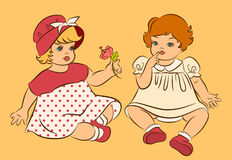 Vintage cartoon little girl. Royalty Free Stock Images