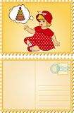 Vintage cartoon little girl. Stock Photo