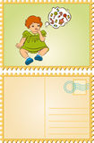 Vintage cartoon little girl. Stock Image