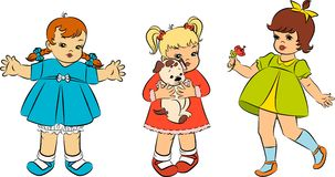 Vintage cartoon little girls Stock Photo