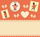 Vintage cartoon little girls Stock Images