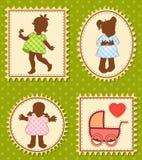 Vintage cartoon little girls Stock Photo