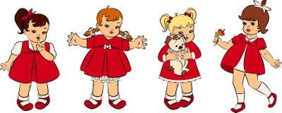 Vintage cartoon little girls. Illustration for a design Stock Images