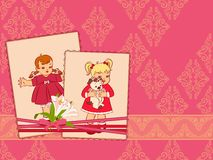 Vintage cartoon little girls. On the ornate background Stock Image