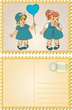 Vintage cartoon little girls. Royalty Free Stock Photos