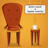 Vintage cartoon poster Keep calm and drink coffee with retro furniture and cup of coffee. Royalty Free Stock Photography