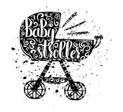Vintage cartoon print baby stroller and hand lettering isolated on white background. Vector Royalty Free Stock Images