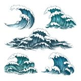 Vintage cartoon sea waves royalty free illustration
