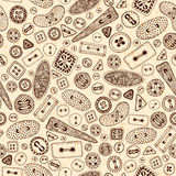 Vintage cartoon sewing buttons seamless pattern. Stock Photos