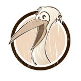 Vintage cartoon stork. In a badge Royalty Free Stock Image