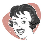 Vintage cartoon woman Stock Photography