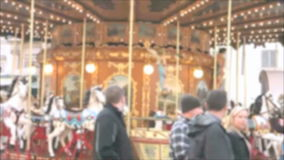 Vintage Carusel defocused stock video footage