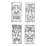 Vintage Carved Polynesian Tiki Totem Vector Idol Masks Stock Photos