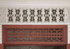 Vintage carving wood and wall Stock Image