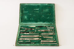 Vintage case of drawing instruments with compasses Royalty Free Stock Photos