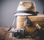 Vintage case and retro photo camera Royalty Free Stock Image