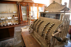 Vintage cash register. In an old shop Royalty Free Stock Photo