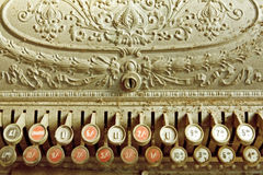 Vintage Cash Register. Covered in dust and cobwebs.  Antique pounds, shillings and pence register Royalty Free Stock Image