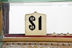 Vintage cash register dollar sign detail. Vintage 1920's cash register pop up dollar sign detail Royalty Free Stock Photos