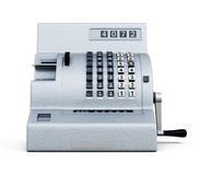 Vintage cash register front view  on white background. 3 Stock Image