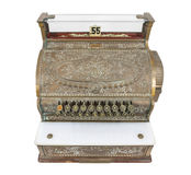 Vintage Cash Register Isolated with Clipping Path Royalty Free Stock Images