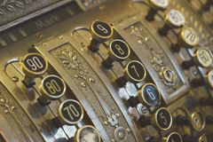 Vintage cash register keys closeup Stock Photos