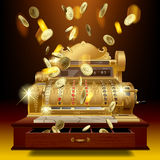 Vintage cash register and money rain Royalty Free Stock Image