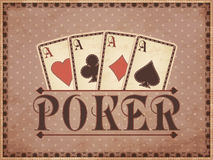 Vintage casino background with poker cards Stock Images
