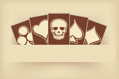 Vintage casino banner with poker elements Royalty Free Stock Photography