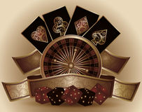 Vintage Casino card with poker elements Royalty Free Stock Photos