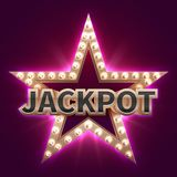 Vintage casino mega bonus poster with retro illuminated star. Showtime and jackpot vector background. Jackpot prize, win in casino, winner star illustration vector illustration