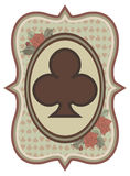 Vintage casino poker trefoils card, vector Royalty Free Stock Photo