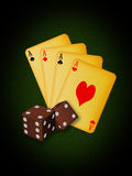 Vintage Casino tools. Old vintage cards and dices Stock Photo