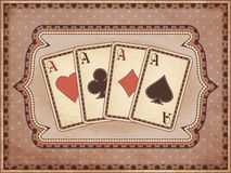 Vintage casino wallpaper with poker cards Royalty Free Stock Images