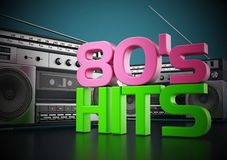 Vintage cassette player and 80`s hits text. 3D illustration.  royalty free illustration